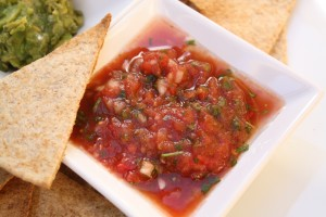 Sweet & Spicy Salsa with Homemade Whole Wheat Chips