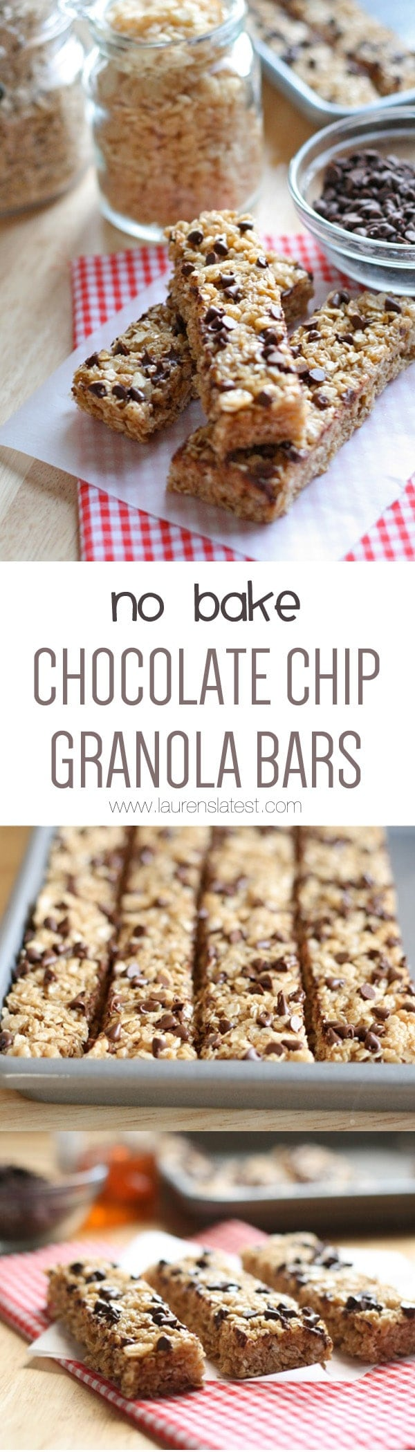 No Bake Chocolate Chip Granola Bars... Simple to make and healthier and cheaper than the store bought kind!
