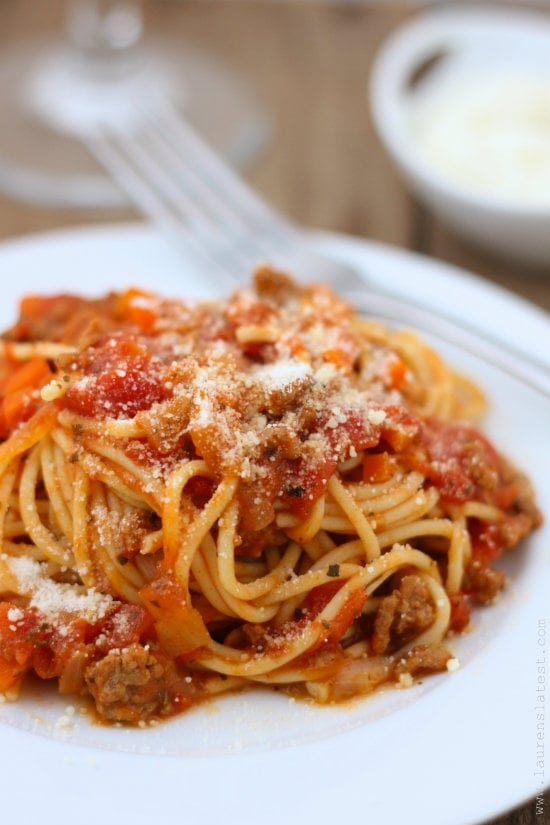 Gluten-Free Spaghetti with Simple Meat Sauce from Lauren's Latest