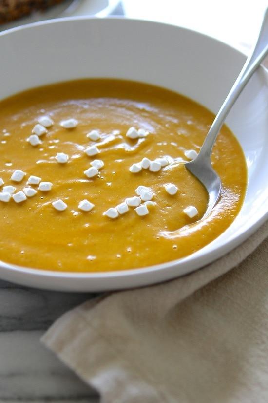 Coconut Curry Sweet Potato Soup {almost Vegan}