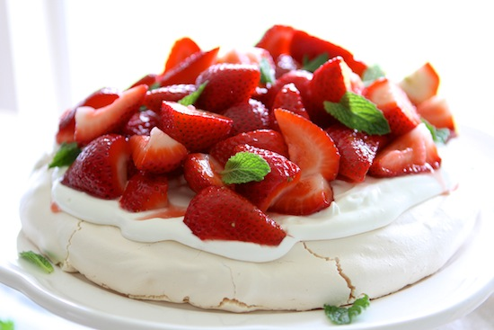 Strawberry Pavlova with Mint