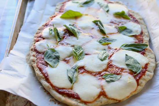 Grilled Herb Pizza with Smoked Mozzarella and Basil