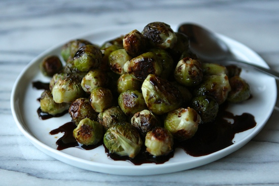 Roasted Brussels Sprouts with Sweet Balsamic Syrup