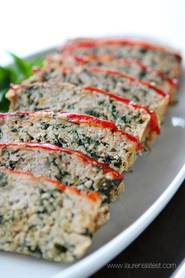 Turkey Meatloaf Florentine from www.laurenslatest.com....the healthiest, tastiest meatloaf ever! You'll never need another meatloaf recipe after this!