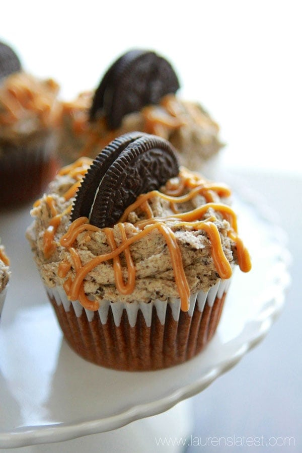 Oreo Bottomed Chocolate Cupcakes with Peanut Butter Oreo Frosting