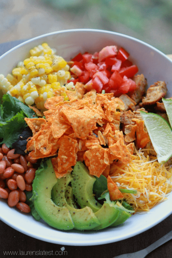 My *favorite* Southwest Salad with Garlic Lime Dressing & Doritos!!