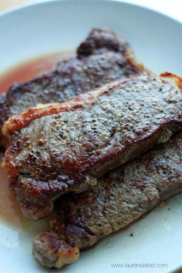 Cast Iron Steak with Bourbon Pepper Sauce