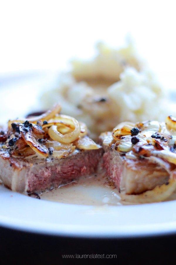 Cast Iron Steak with Bourbon Pepper Sauce from laurenslatest.com