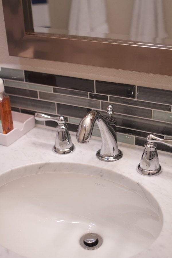 Vintage All the fixtures for the bathroom are all from Moen as well This faucet is the Caldwell chrome two handle