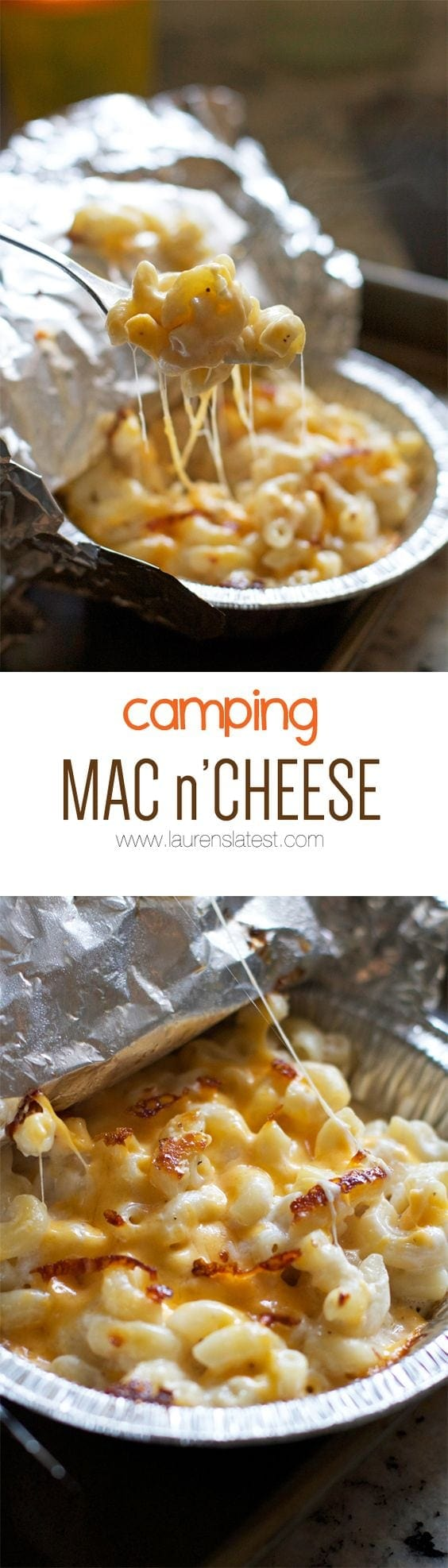 Camping Mac n' Cheese...make it over a fire, on a grill or just in the oven! So cheesy and simple!