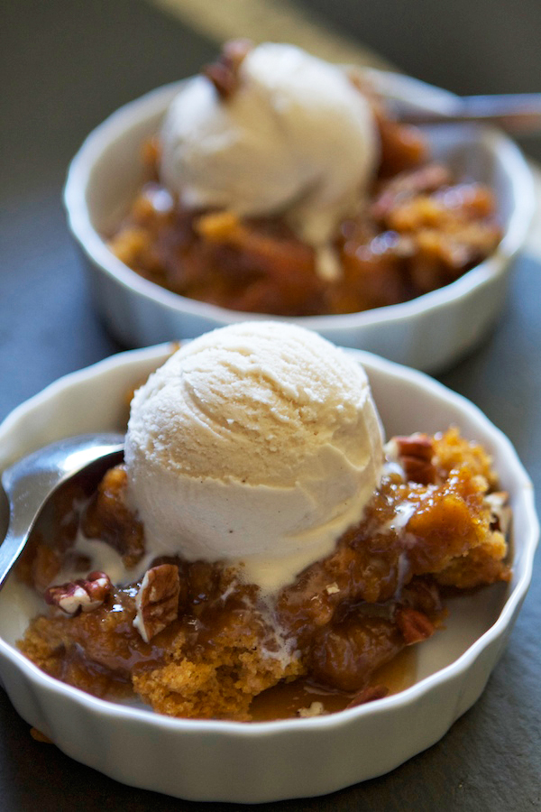 Pumpkin Pecan Cobbler...cake on the top, hot caramel sauce on the ...
