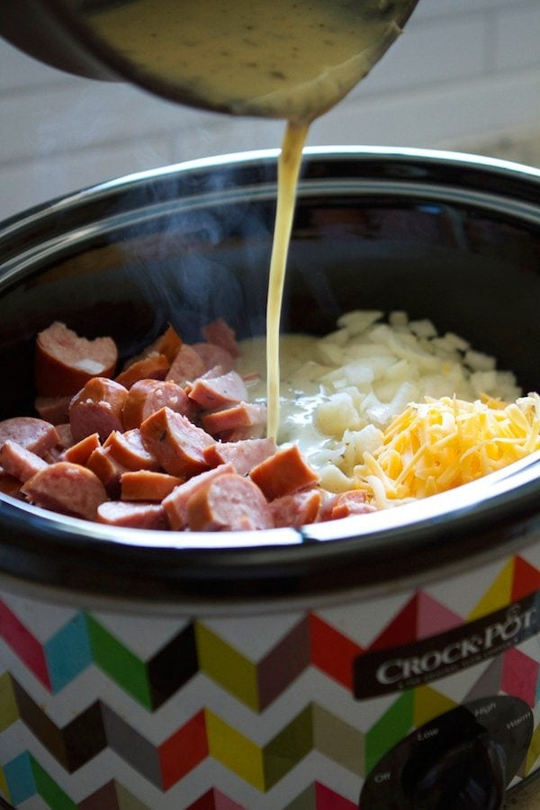 Crockpot Smoked Sausage & Hash Brown Casserole...a fast dinner idea!