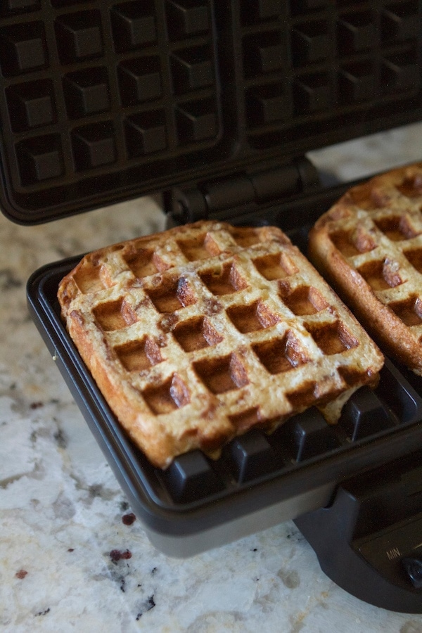 Cinnamon Roll French Toast Waffles | Lauren's Latest