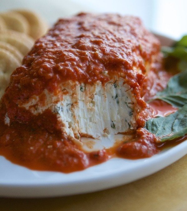 Roasted Red Pepper & Basil Cream Cheese Log