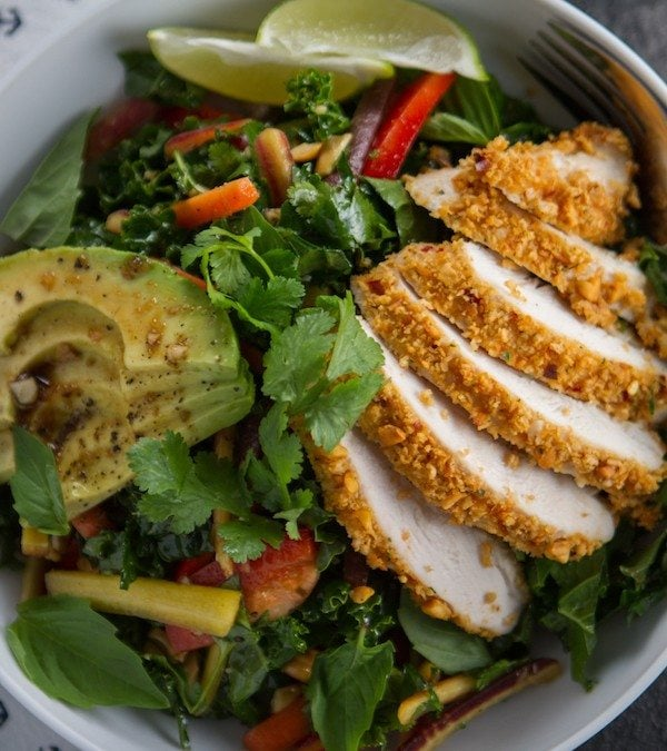 Crunchy Thai Peanut Chicken & Kale Salad
