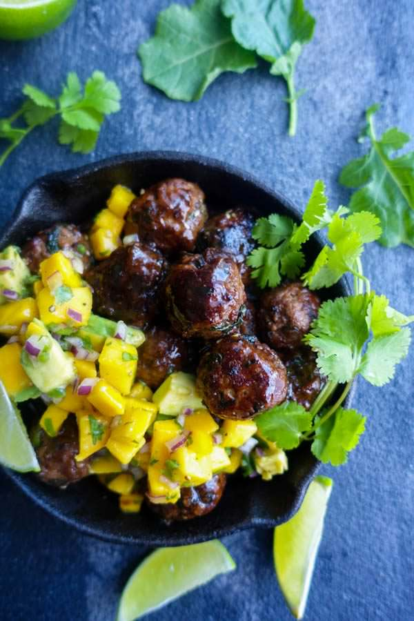 Teriyaki Glazed Garlic Kale Meatballs with Mango Avocado Salsa
