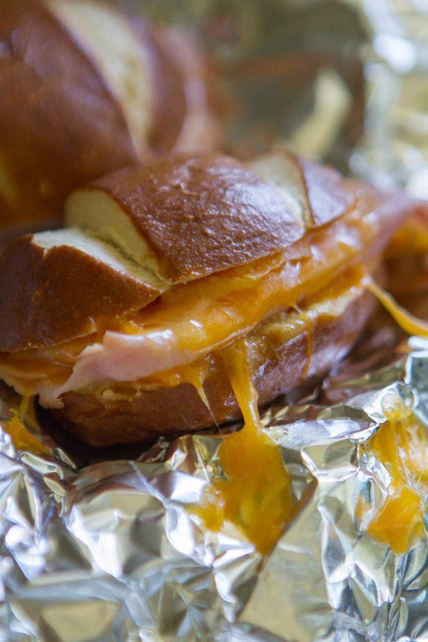 Ham & Cheese Honey Mustard Pretzel Melts