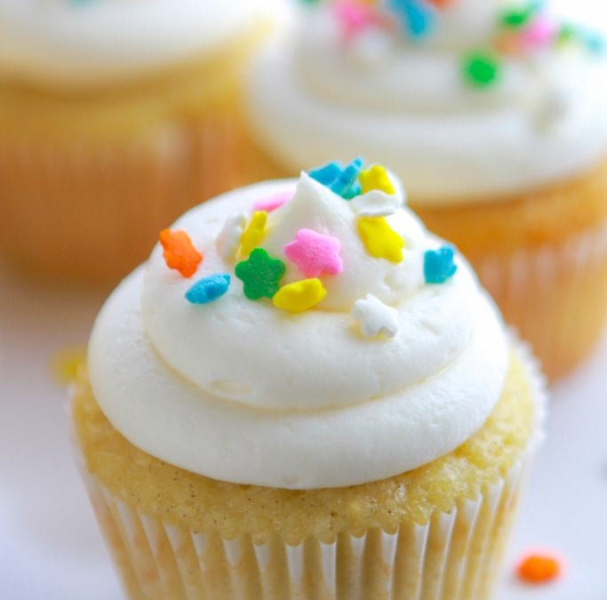 Double Vanilla Sour Cream Cupcakes