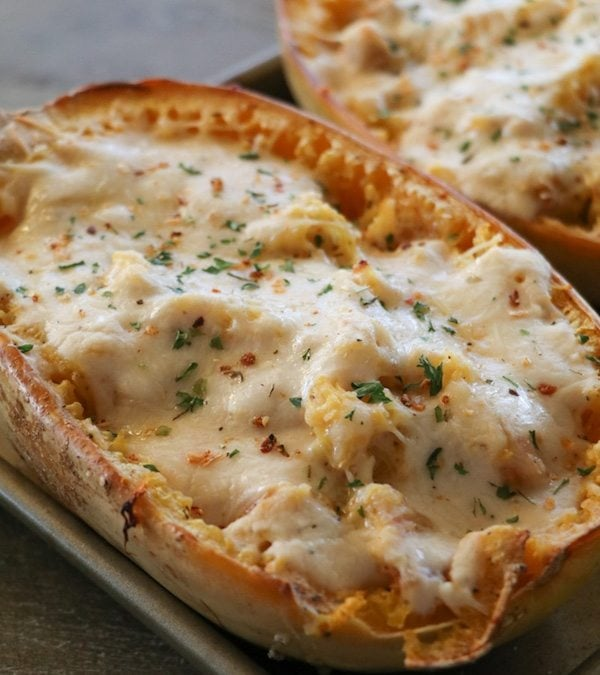 Chicken & Bacon Alfredo Stuffed Spaghetti Squash