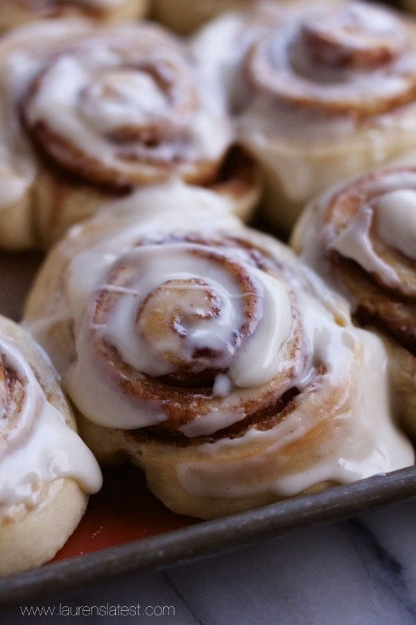 1-Hour Cinnabon Cinnamon Rolls are beyond delicious, especially when smothered in frosting! They taste just like Cinnabons and they come together in a snap!