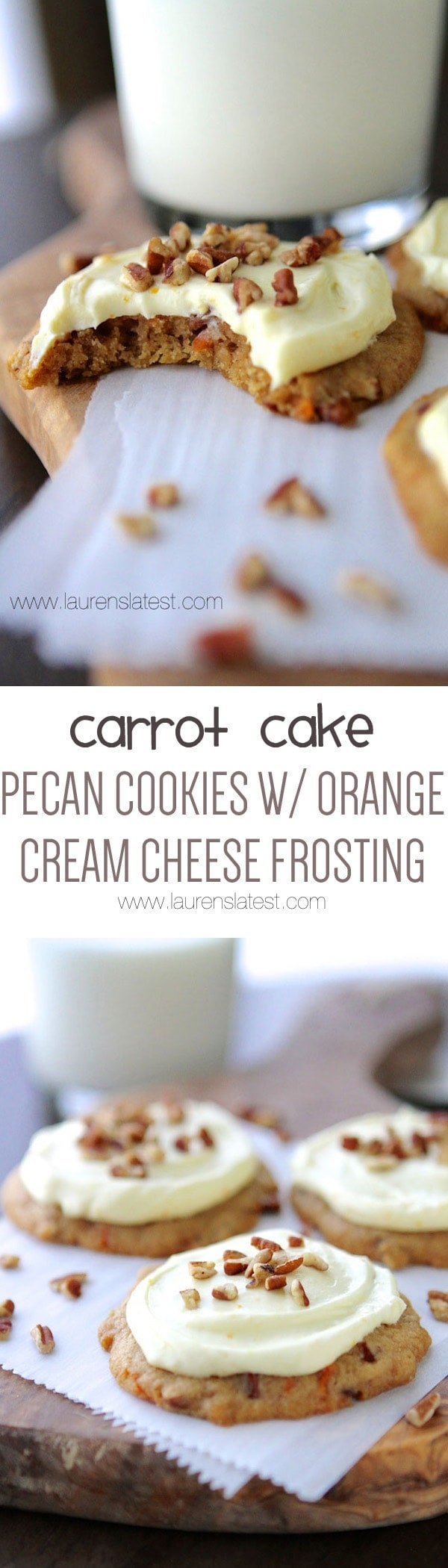 These Carrot Cake Pecan Cookies are cake-like and soft and completely irresistible when they're topped with Orange Cream Cheese frosting!