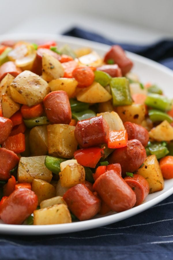 Roasted Veggie Hot Dog Hash