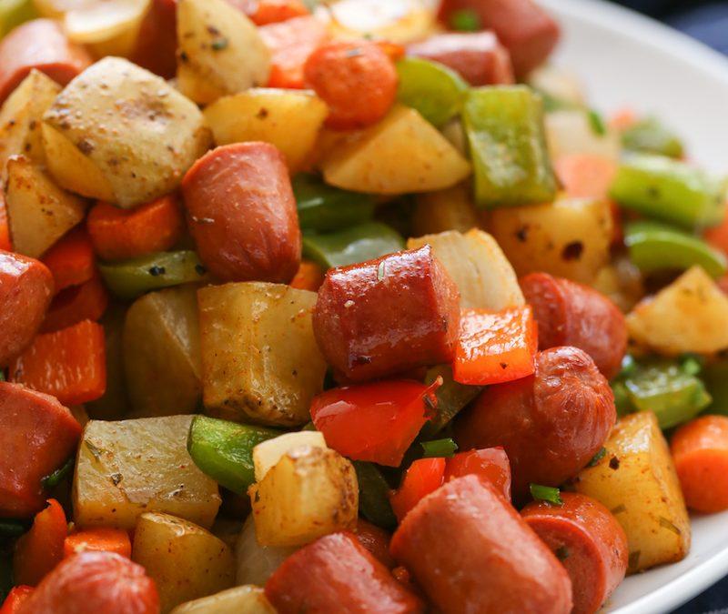 Roasted Veggie Hot Dog Hash